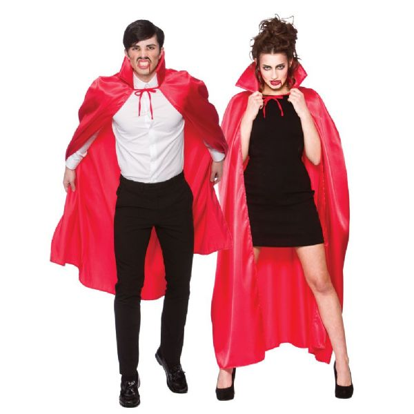 Adult Deluxe Satin Cape With Collar - Red